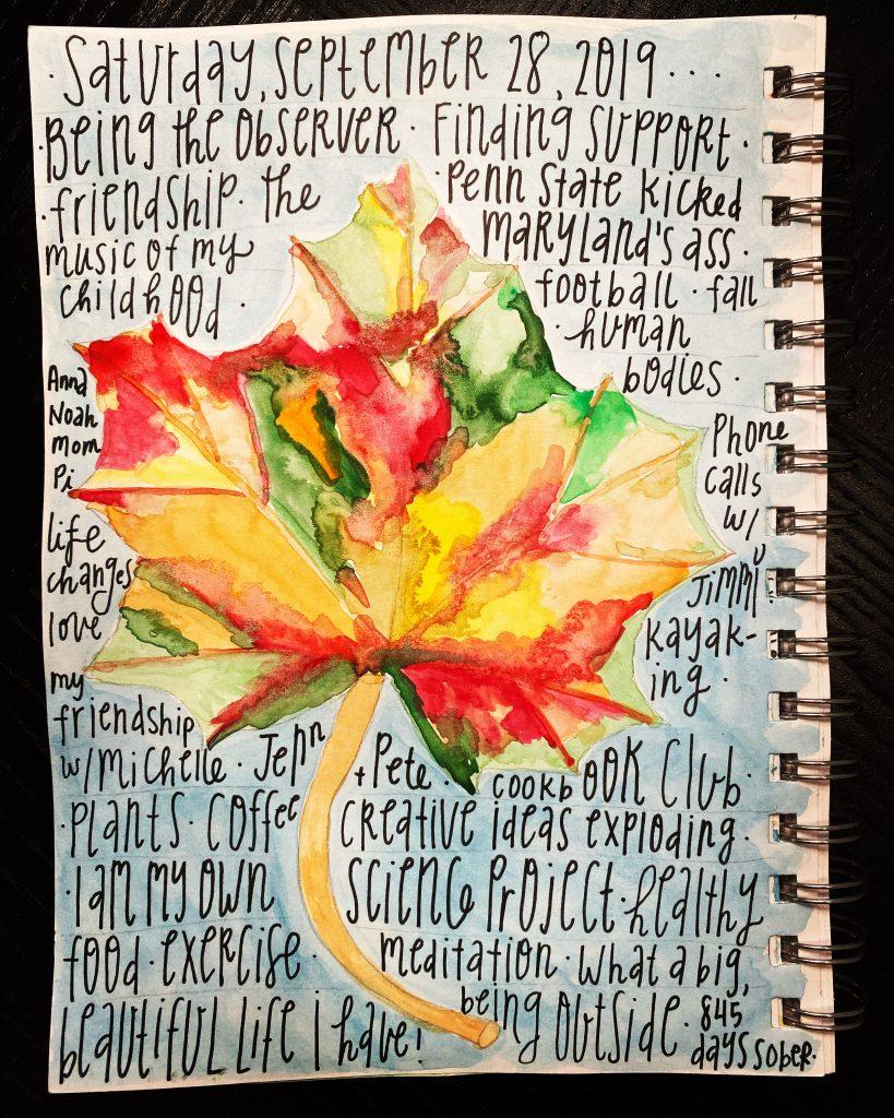 Gratitude list on watercolor