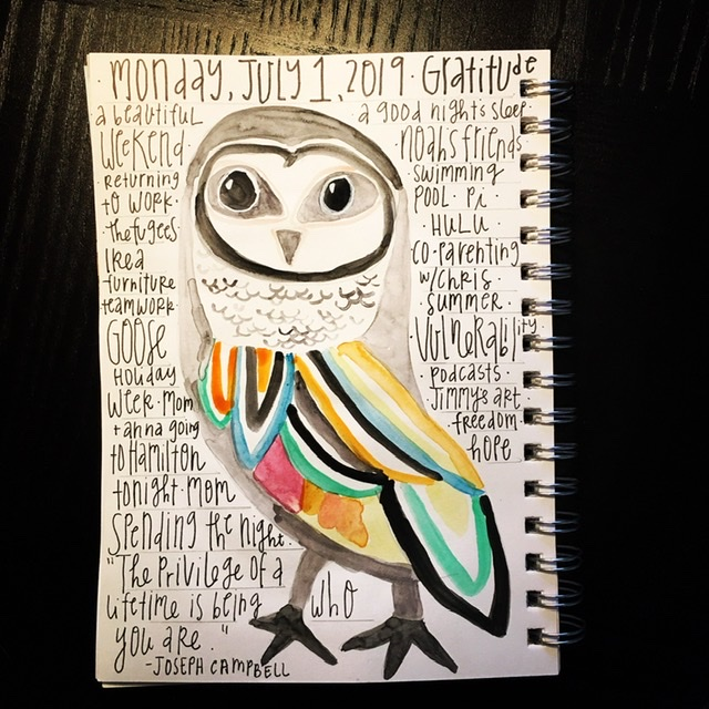 Watercolor gratitude list-owl