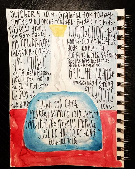 Watercolor gratitude list- bottle