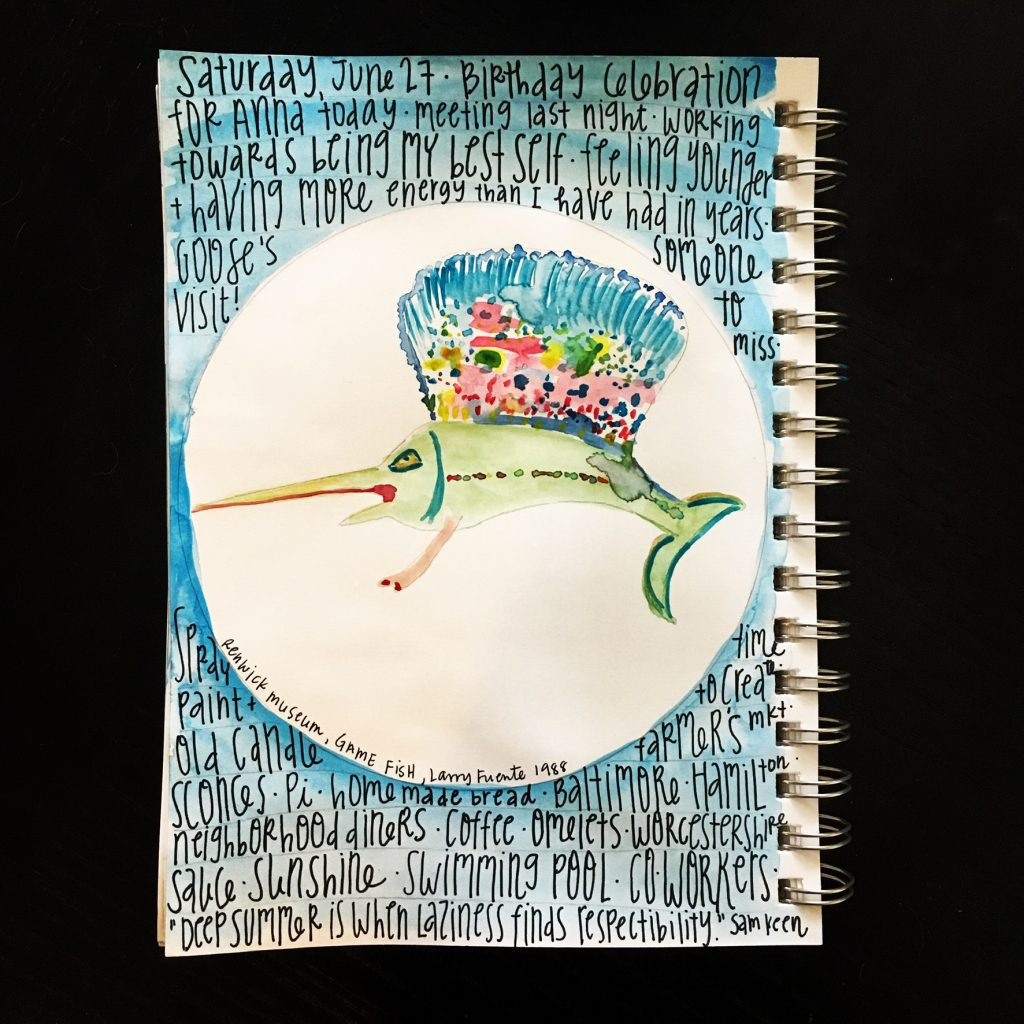 Watercolor gratitude list- swordfish art piece