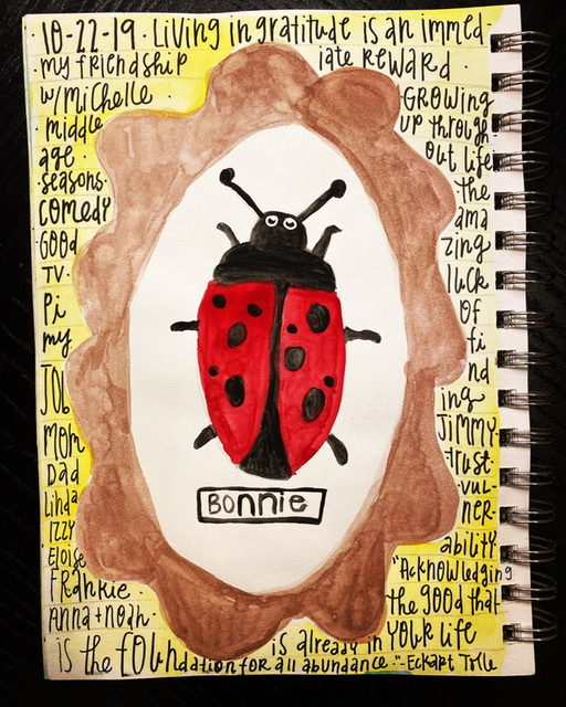 Watercolor gratitude list ladybug Bonnie and Clyde