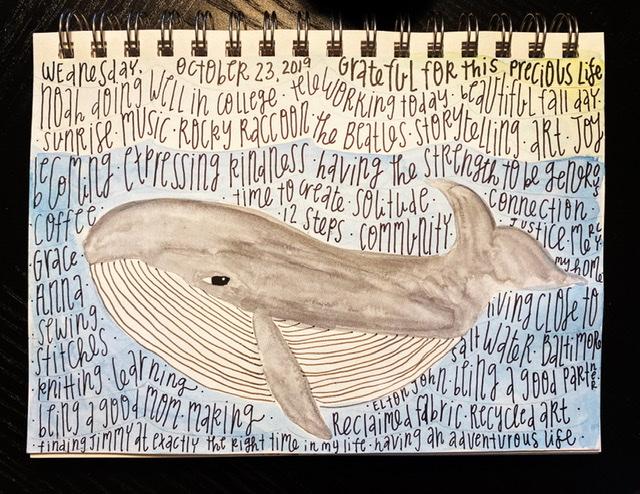 Watercolor gratitude list whale