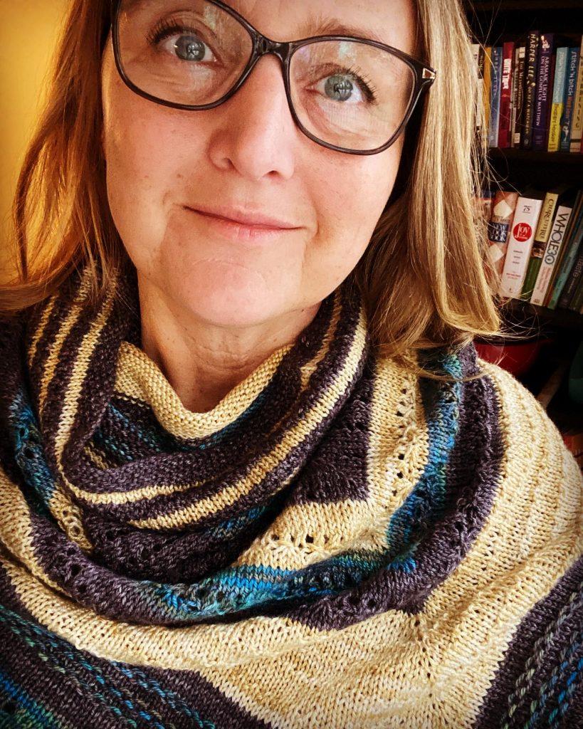 Hand knit shawl poncho