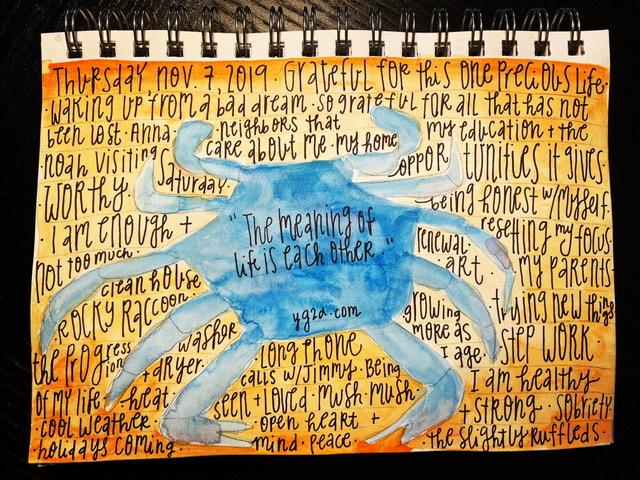 Watercolor gratitude list crab