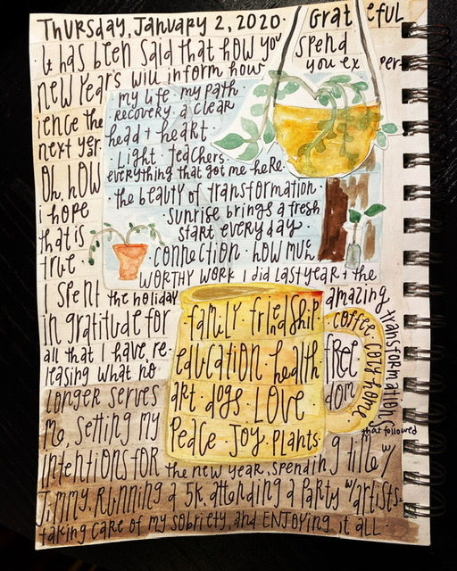 Watercolor gratitude list