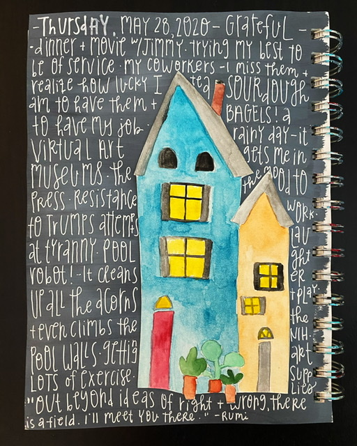Image of a watercolor painted house on a grey background. Gratitude listed hand written over the grey on white pen.