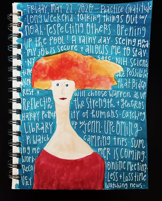 watercolor image of woman with crazy orange hair.  Gratitude list written over background