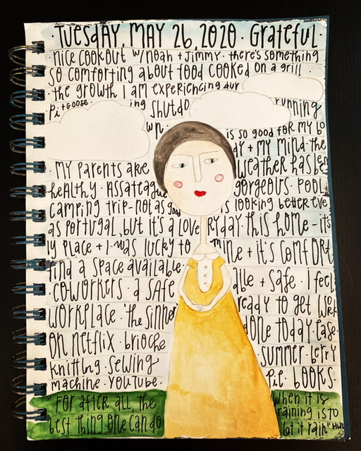 Gratitude list written on watercolor image of girl outside