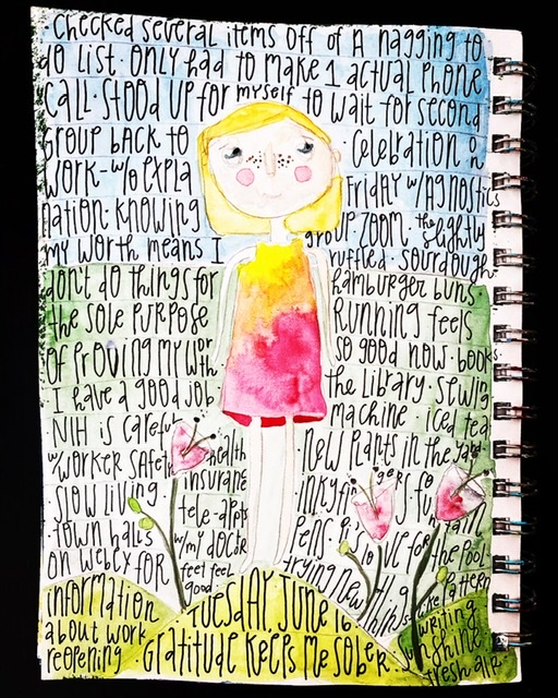 Watercolor painting of girl outdoors. Gratitude list is written over it.