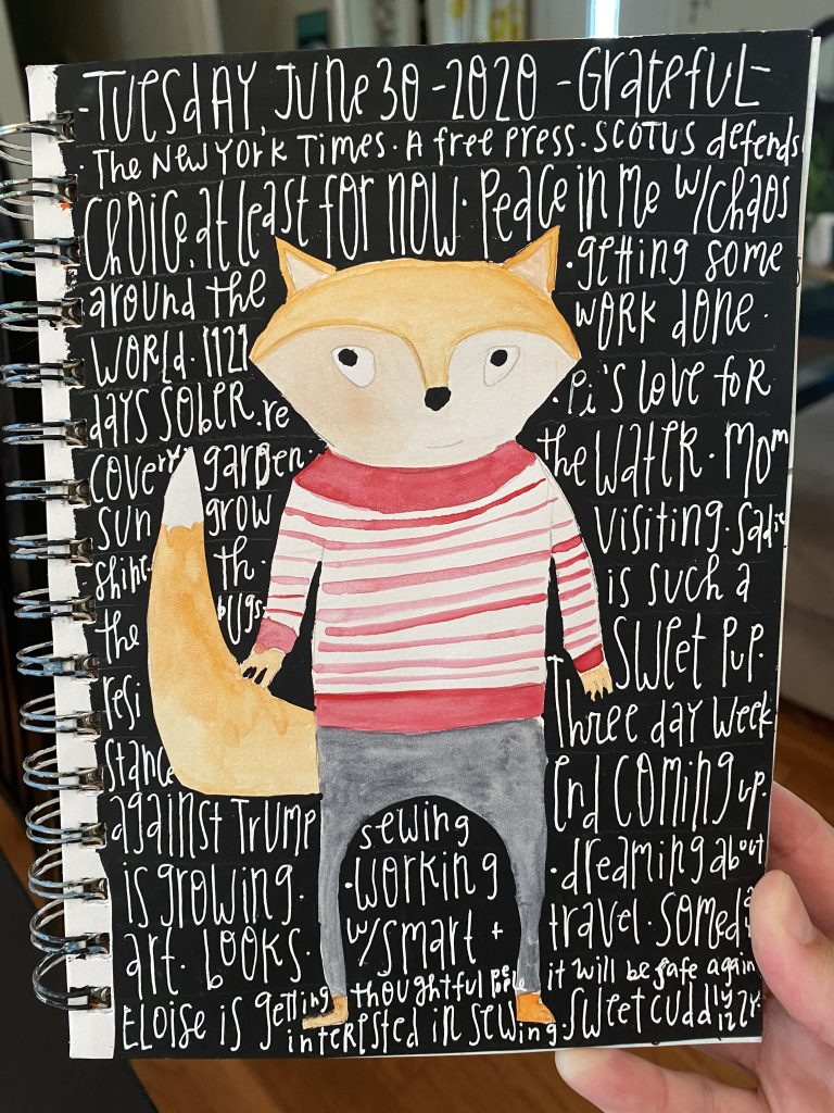 Watercolor painting of a fox on a black background. Gratitude list written on top.