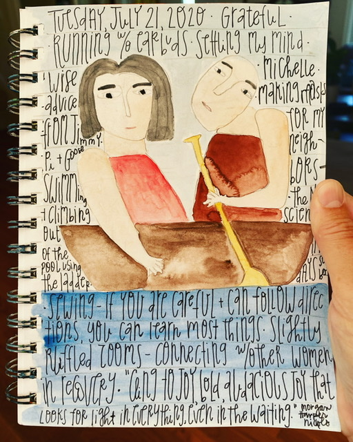 Watercolor painting of two people in a boat on water. Gratitude list is written on top of painting.