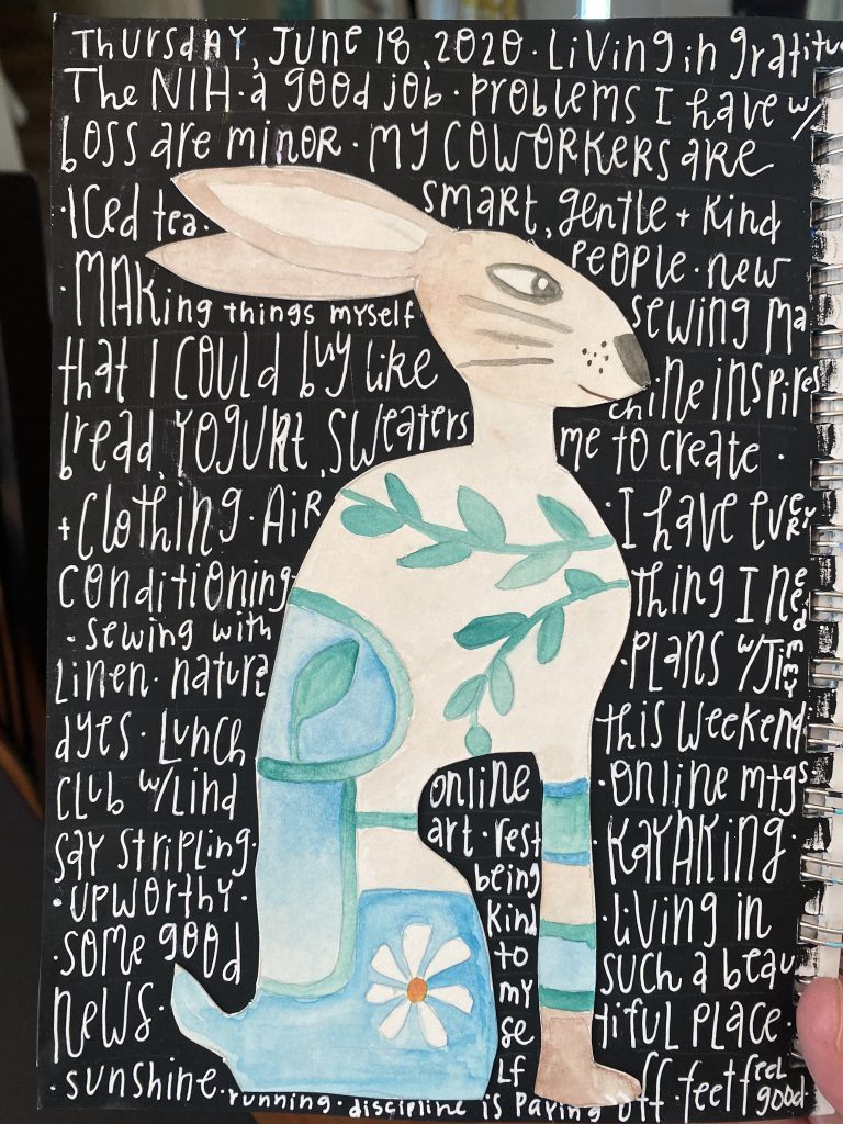 Watercolor rabbit on a black background. Gratitude list written in white on black background.