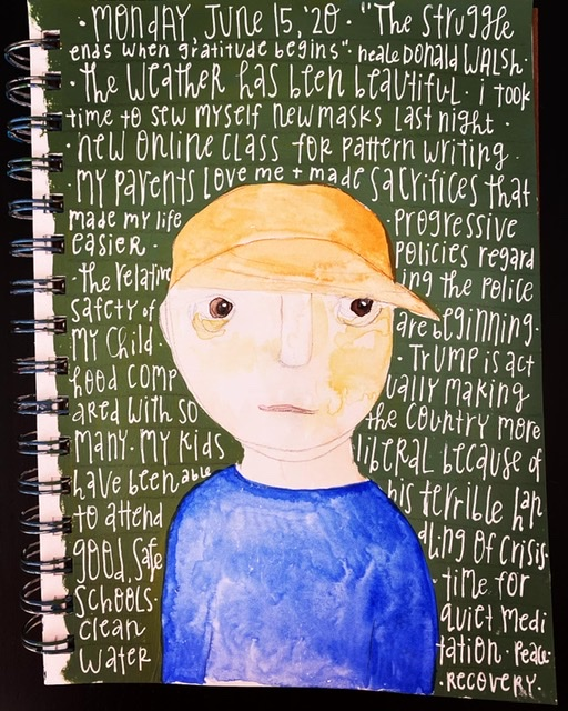 Watercolor painting of boy wearing baseball cap on green background. Gratitude list written in white on background.