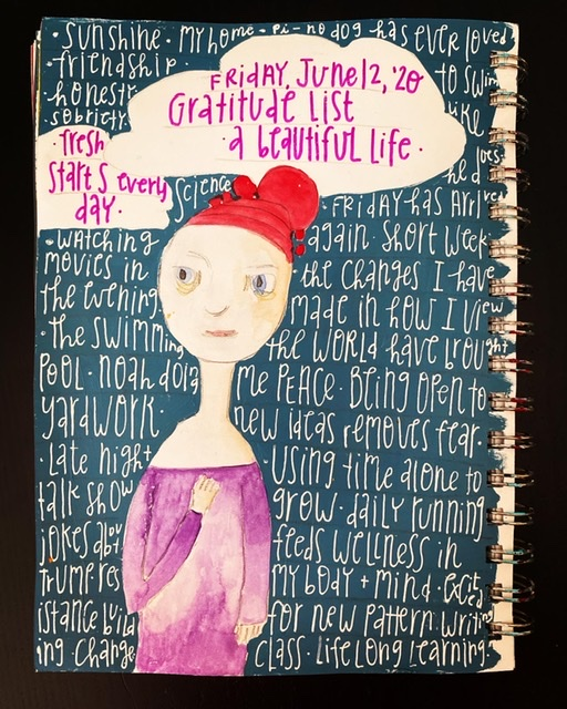 Watercolor image of woman with red hair and purple dress on blue background. Gratitude list written in white on background.