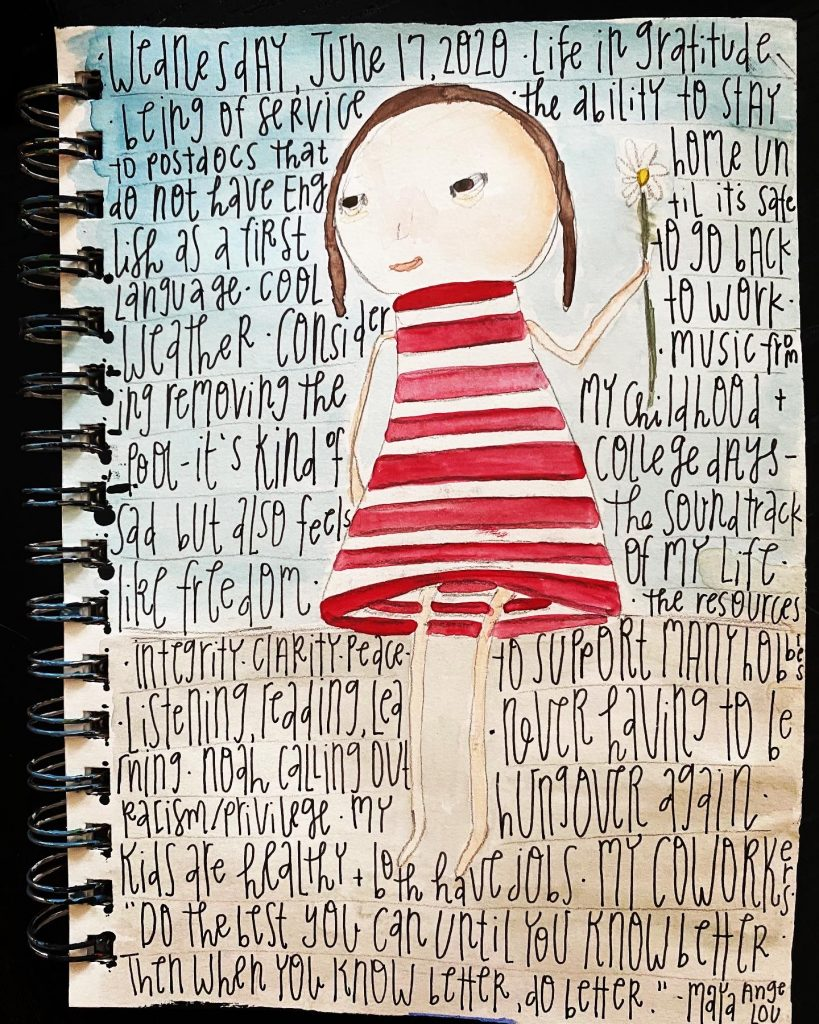 Watercolor painting of girl in striped dress holding a flower. Gratitude list written on top.