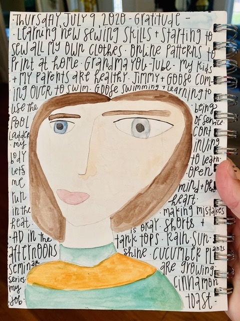 Watercolor painting of woman with gratitude list written on it.