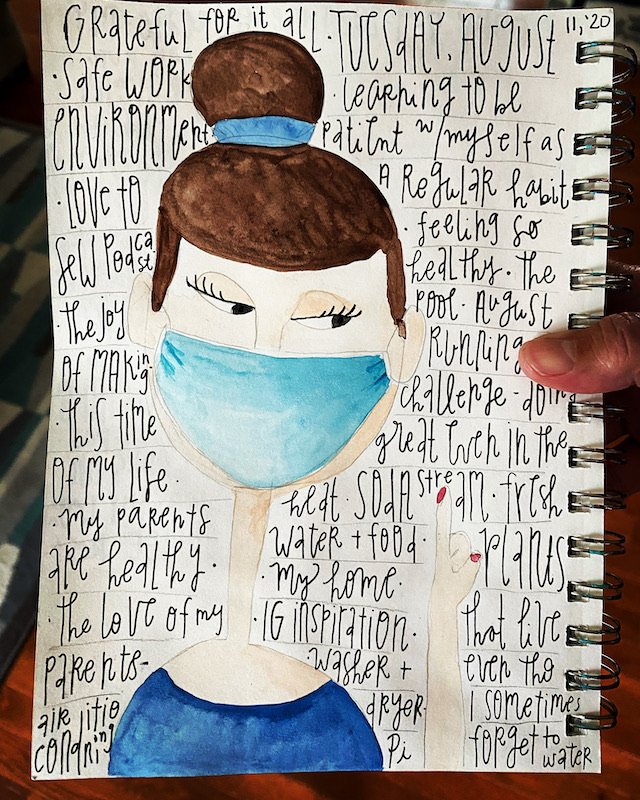 Watercolor image of woman with blue mask on.  Gratitude list written around her.