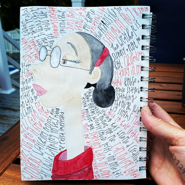Watercolor image of a woman in glasses and a red shirt with a very long neck. Gratitude list written radially around her
